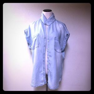 Maurices Chambray Button Down Cuffed Shirt Sz 1